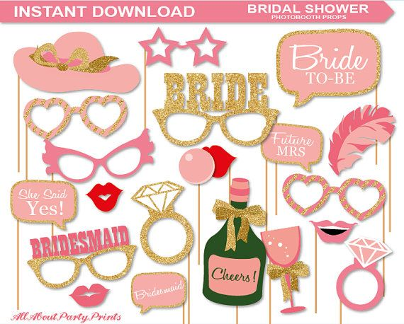 instant download bridal shower photobooth props printable pack