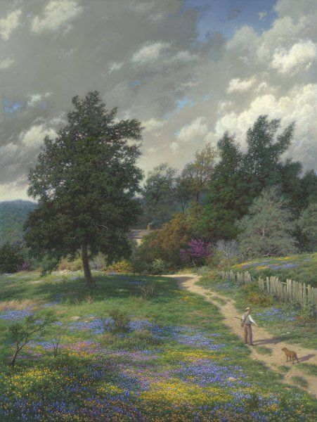 Coming Homeby Larry Dyke SN LE Texas Bluebonnets Landscape Fine Art Lithograph | eBay