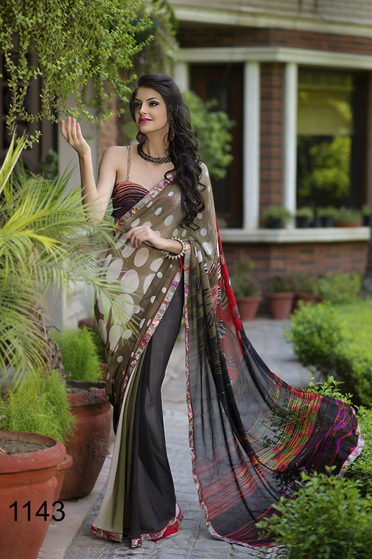 Black colour saree images this black and brown color printed saree is gracefully adorned with