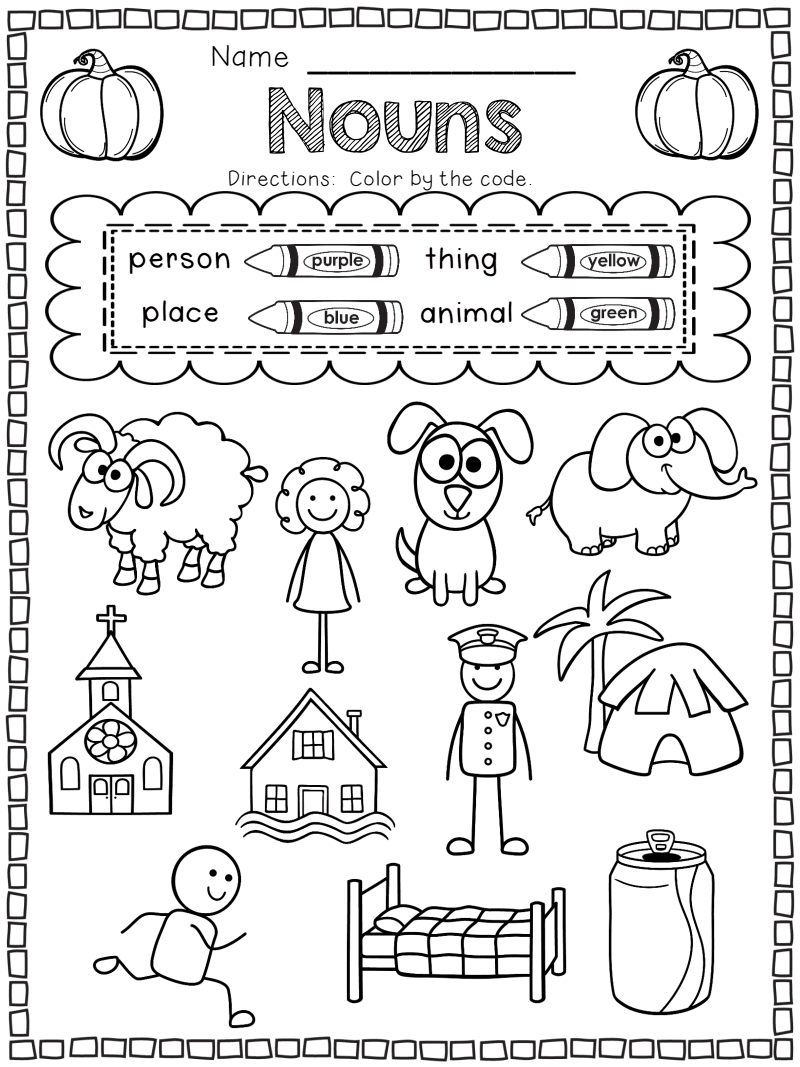 October Printables Pack SAMPLE.pdf Nouns first grade
