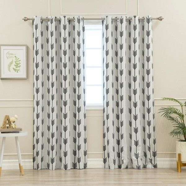Aurora Home Arrow Room Darkening Grommet Curtain Panel Pair 65 Liked On Polyvore Featuring Decor Window Treatments Curtains White