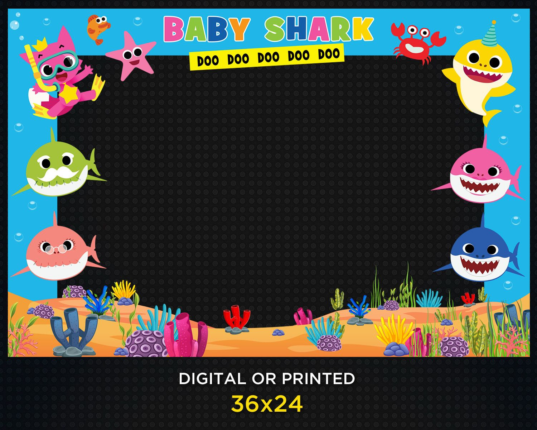 Baby Shark Photo Booth Frame Birthday Kids Baby Shark Party