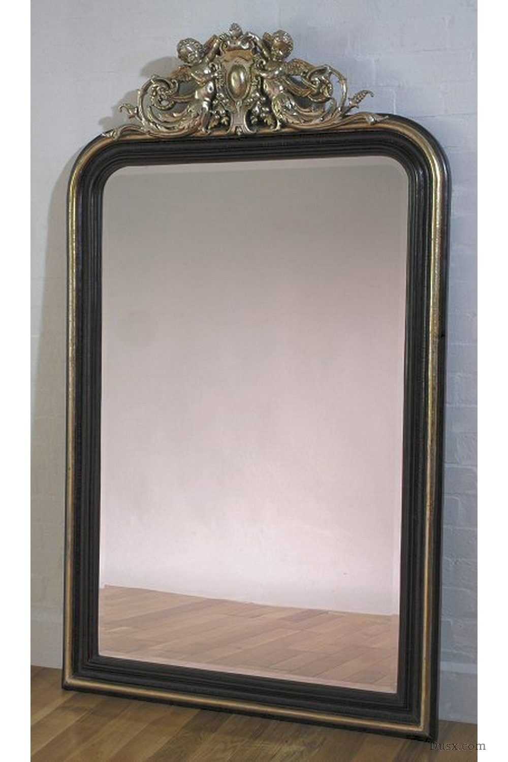 Cherubim French Rococo Black & Silver Bevelled Mirror: For sale at ...