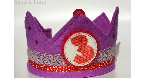Crown Birthday Felt Customizable from 1 to 9 years elasticated size
