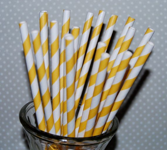 paper straws 25 Yellow stripe straws barber striped paper drinking straws - with FREE  Flags / Pendants vintage straws party straws on Etsy, $4.00