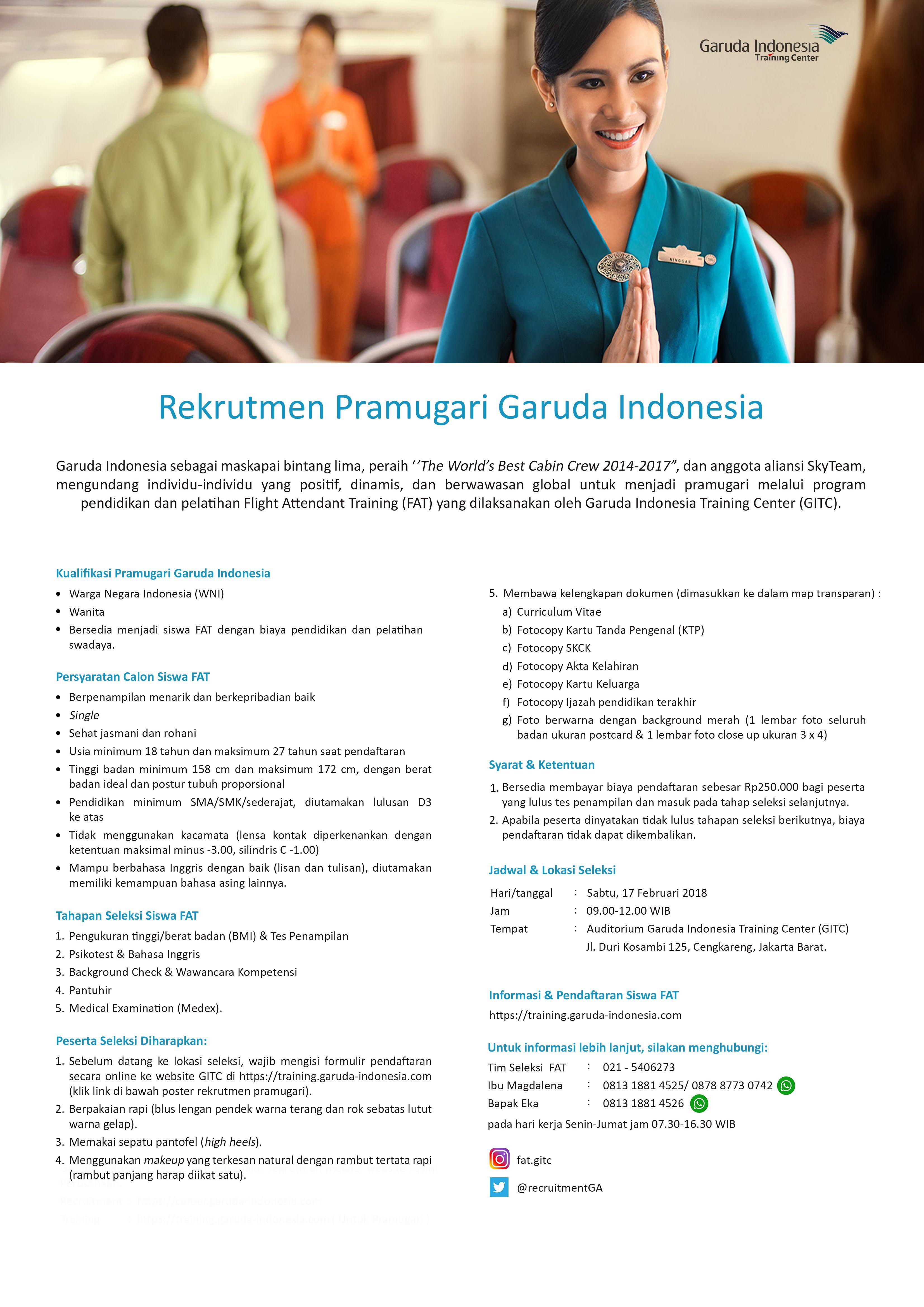 Pembukaan Pelatihan Pramugari Garuda Indonesia Training Center Periode Februari 2018 Di Jakarta Jakarta Pelatihanpramugari Pramu Pramugari Latihan Indonesia
