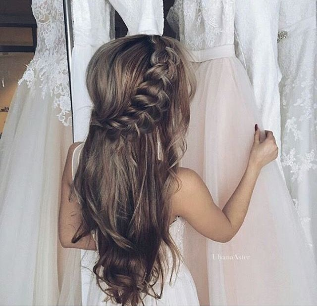 Half Updo Fluffy French Braid Wedding Hairstyles For Long Hair Hair Styles Long Hair Styles