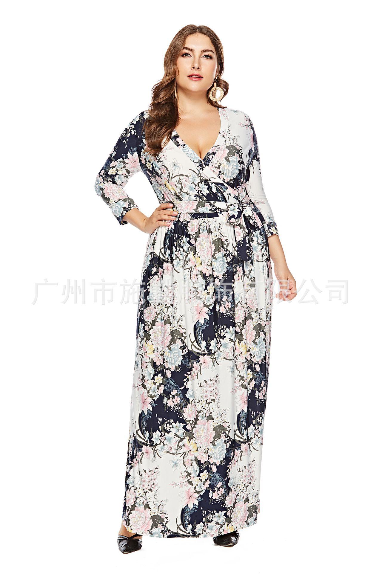 Polyester Fashion Dress Whitexl Nhsq0002whitexl Floral Dress Casual Casual Dresses Plus Size Cheap Maxi Dresses [ 1920 x 1280 Pixel ]