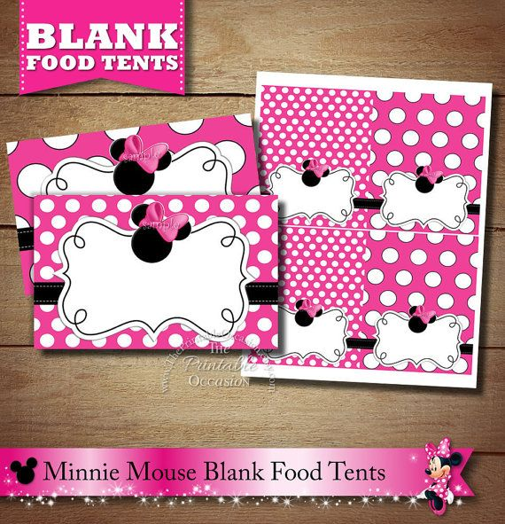 Blank Chalkboard Minnie Mouse Food Tents by ThePrintableOccasion