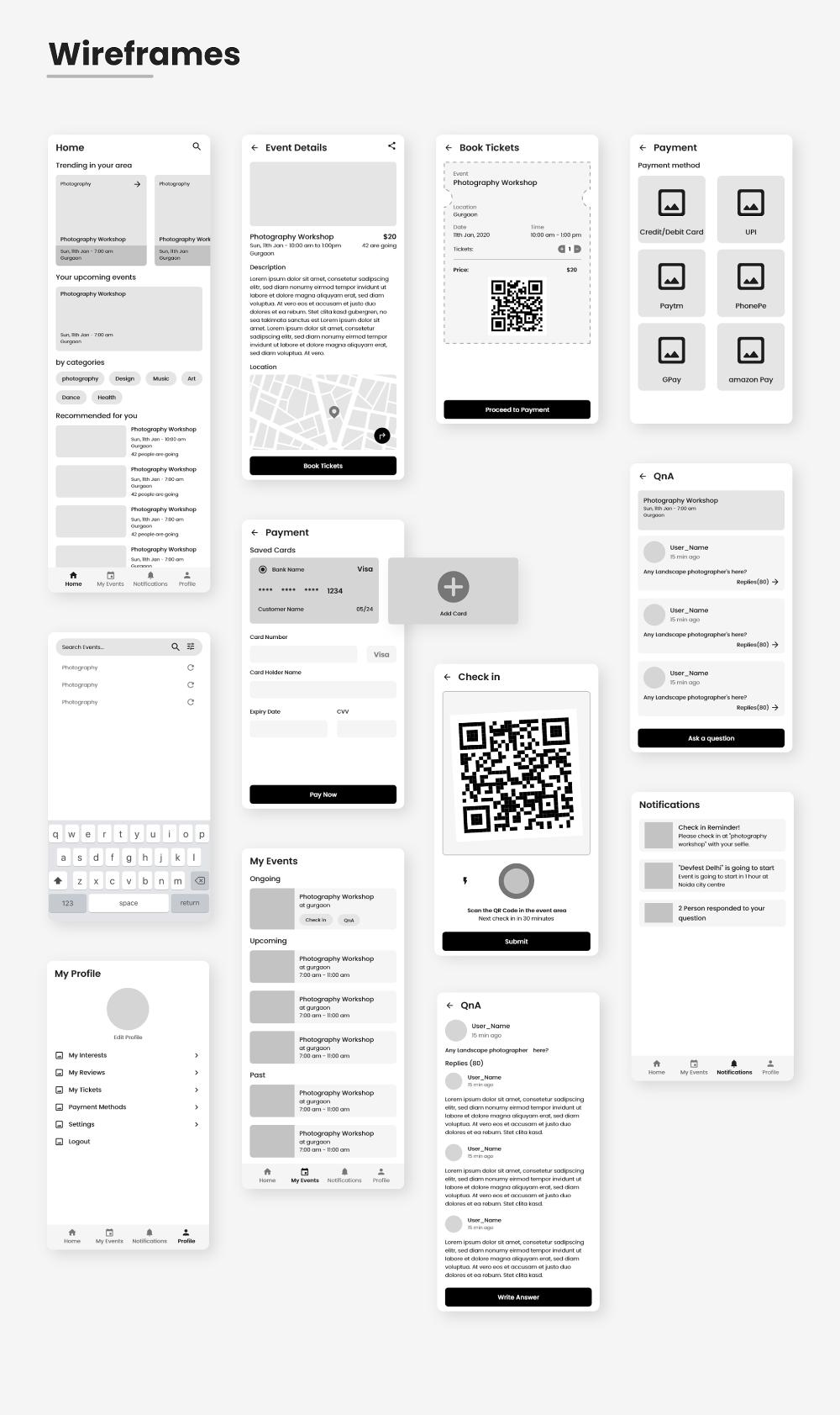 Event App Wireframe Design
