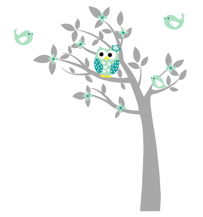 muursticker boom met uil (1) - kinderkamer | pinterest - babykamer, Deco ideeën