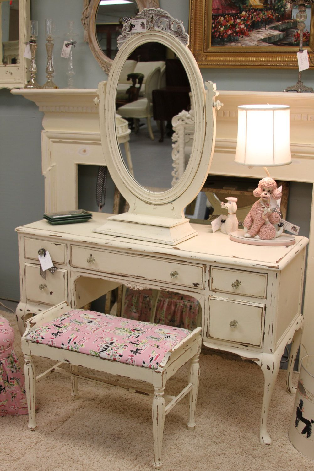 Adorable Shabby Chic Distressed Vanity Set Wih Pink Upholstery 72500 Via Etsy