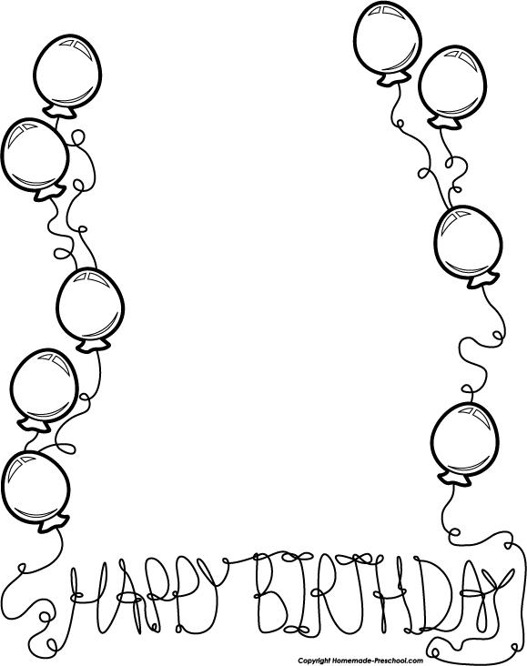 Birthday Black And White Black And White Birthday Clip Art Borders Clip Art Borders Birthday Balloons Clipart Birthday Card Printable