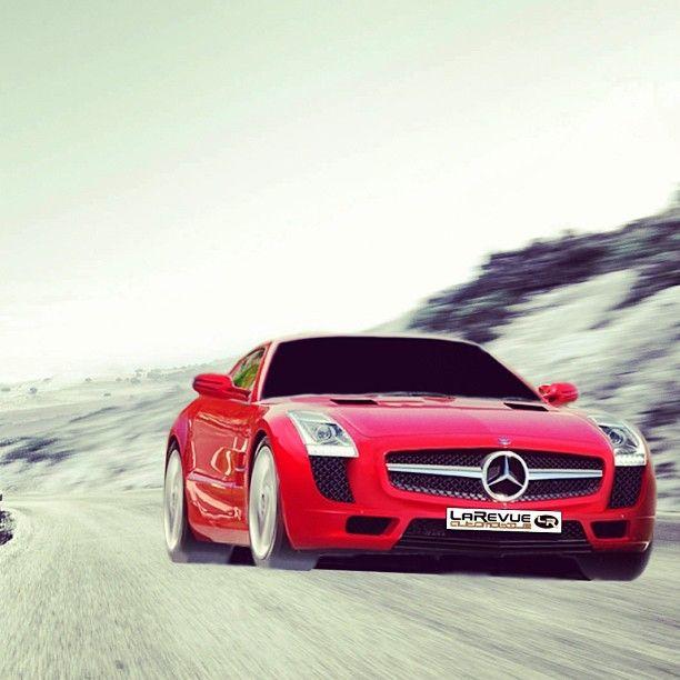 Action shot of a Mercedes SLS Amg
