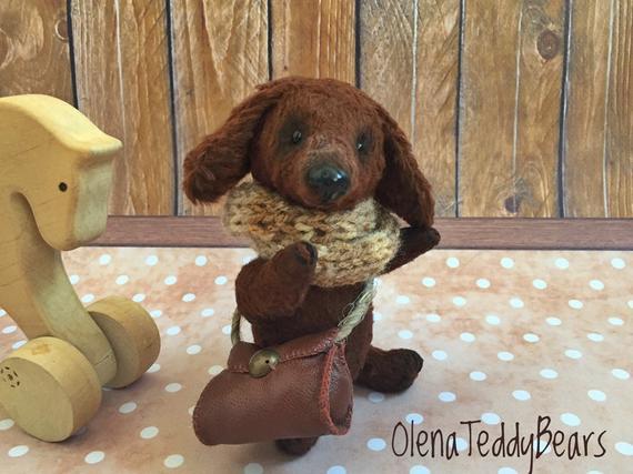 Teddy Puppy Dachshund Ooak Handmade Toy Miniature Dogs