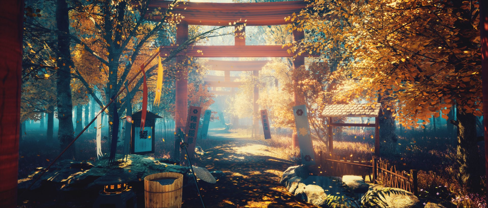 Fantasy Oriental Shinto Scenery Japan Wallpaper In 2020 Scenery Wallpaper Anime Scenery Wallpaper Aesthetic Desktop Wallpaper