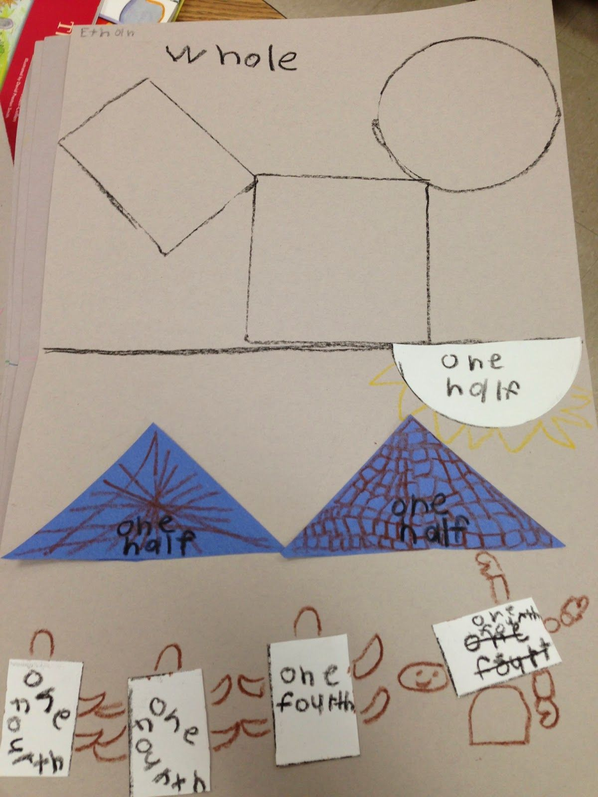 Partitioning Cut Whole Shapes Into Halves Thirds And