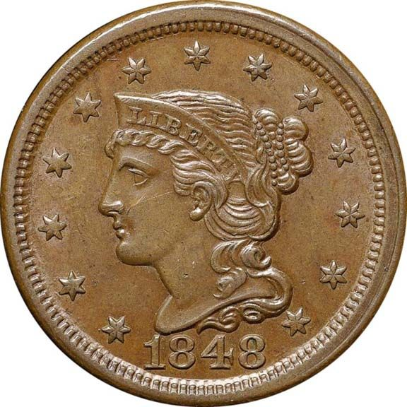 Braided Hair Cents 1848 1c Ms Coin Art Coins Coin Collectors