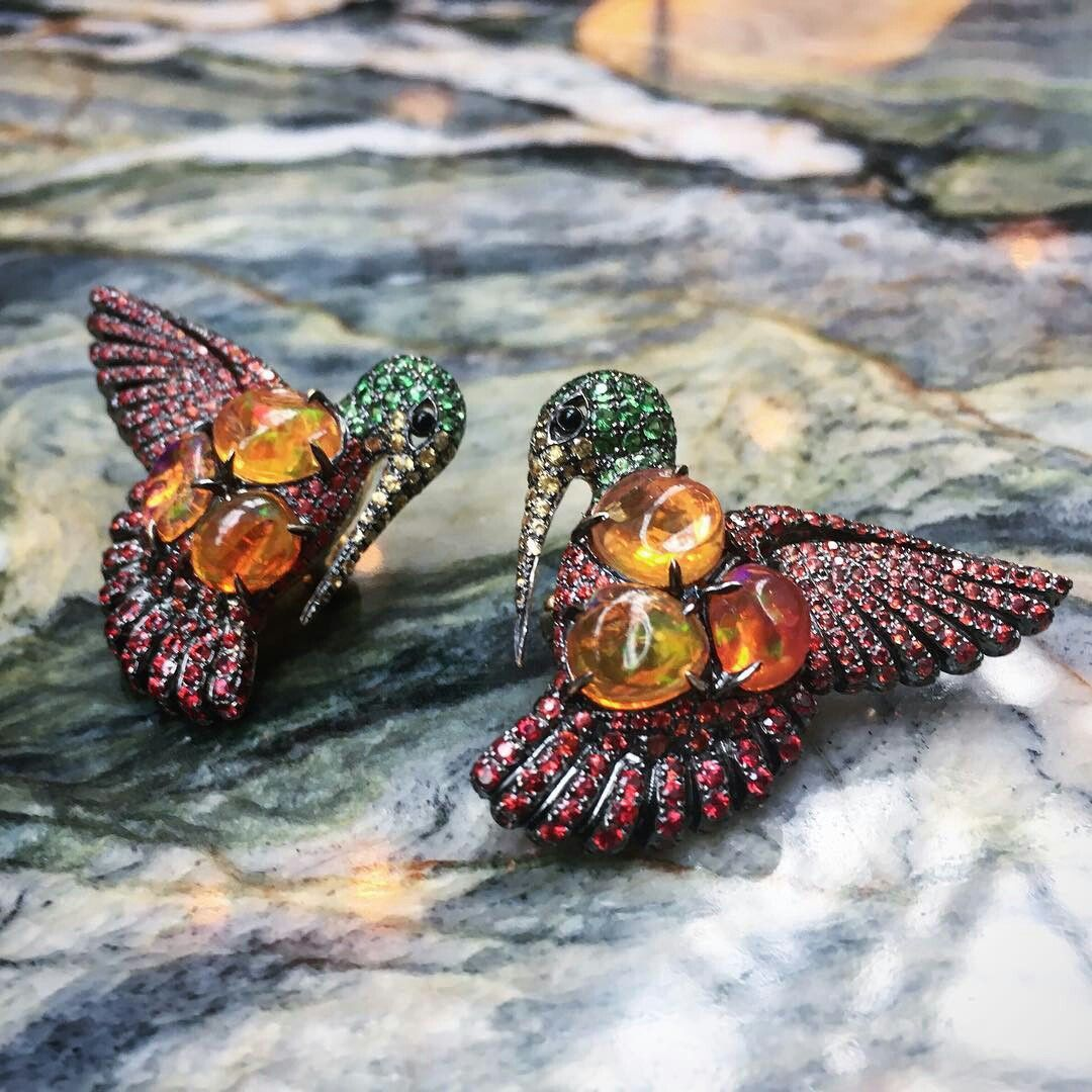 Fire opal earrings from lydiacourteille aretes for Xochimilco jardin flottant