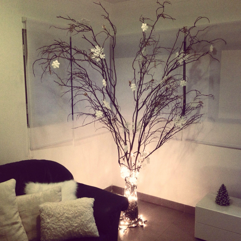 Rbol de navidad con ramas secas decoraci n pinterest for Decoracion con pinas secas