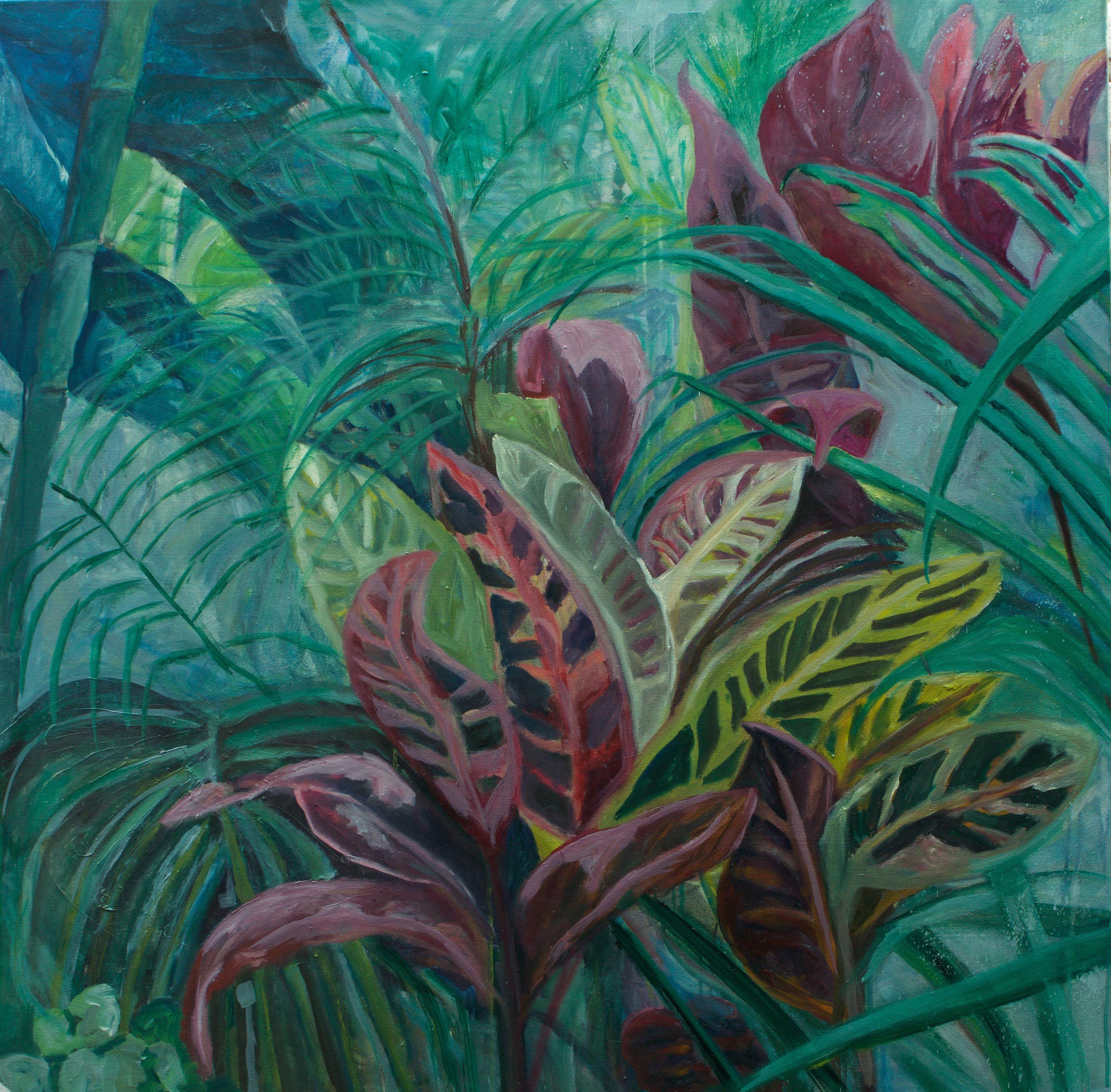 Hemingway's Garden II, 100 x100cm, 2016, Oil on Canvas, available by artist: charlotte@vonelm.net, 2.000 Euro