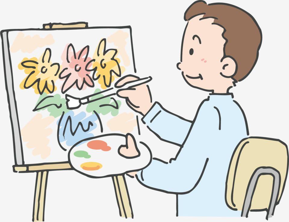 الرجل رسام رسم طلاب الفن الرسم في الهواء الطلق رجل رسم كرتون Png والمتجهات للتحميل مجانا Student Art Art Painting