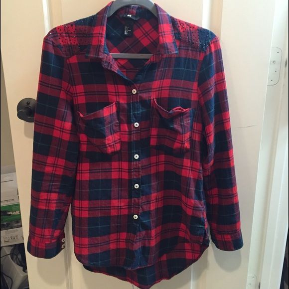 Plaid H&M button down shirt Red, green and blue plaid, long- sleeved button down. Has black rhinestones on shoulders. Clean and soft, just needs to be ironed or pressed! H&M Tops Button Down Shirts