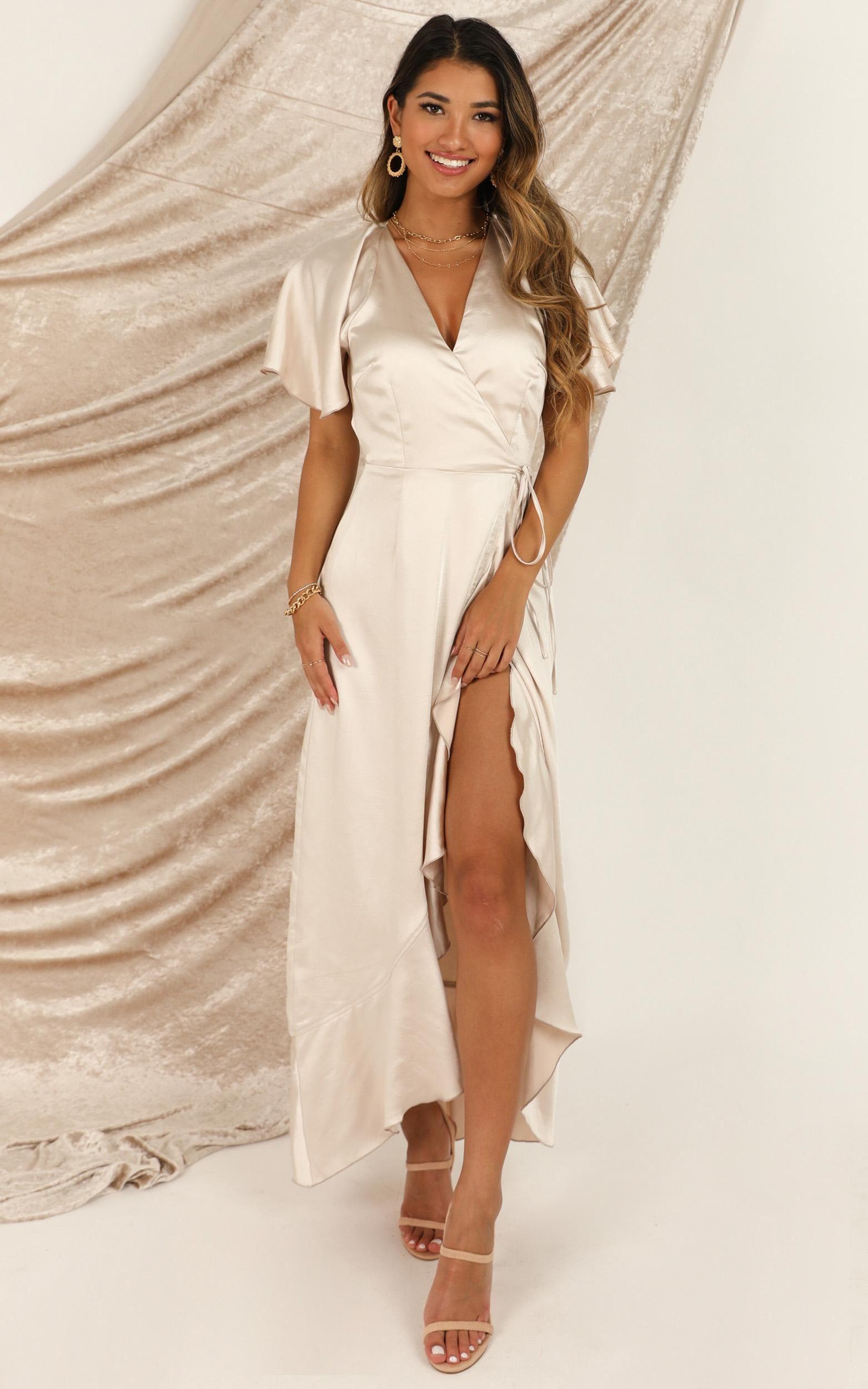 Wrap It Dress In Champagne Satin Showpo In 2021 Dresses Stunning Bridesmaid Dresses Champagne Satin Dress [ 2500 x 1563 Pixel ]