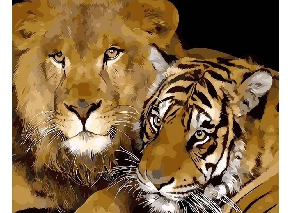 Картина по номерам «Хищный дуэт» | Картина с тигром ...