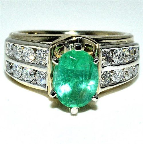 Real Emerald Diamond Ring 2ct green emerald Two tone Ring .5ct 14K Yellow gold Rings-MidwestJewellery.com http://www.amazon.com/dp/B00EB03LWY/ref=cm_sw_r_pi_dp_zNBnub1M9B331