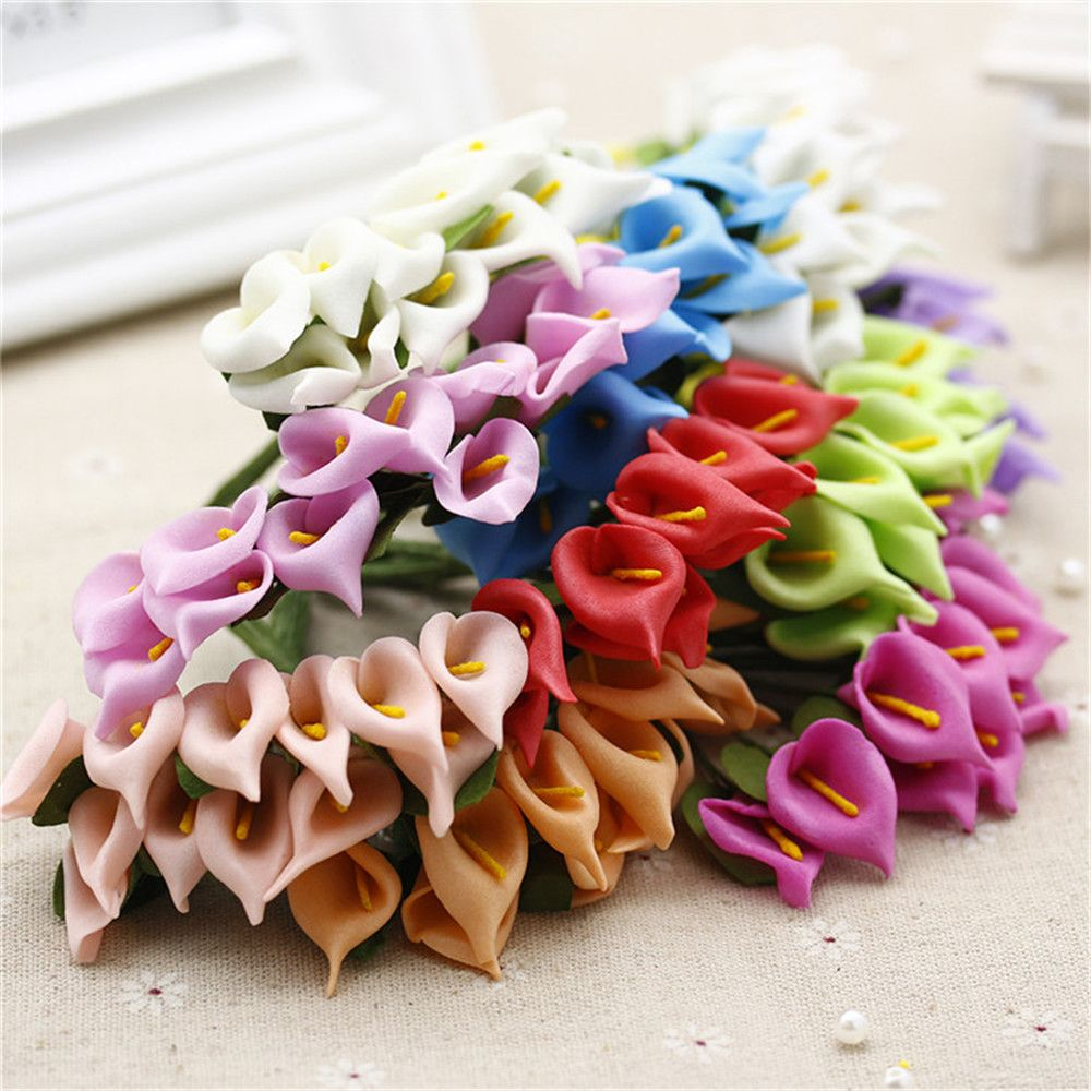 12pcs Foam Pure White Calla Artificial Flower For Wedding Home