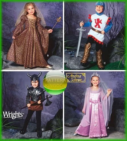 simplicity 5520 childrens knight princess medieval costume patterns - Childrens Halloween Costume Patterns