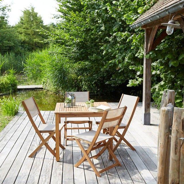 Salon de jardin en bois d\'acacia 4 places