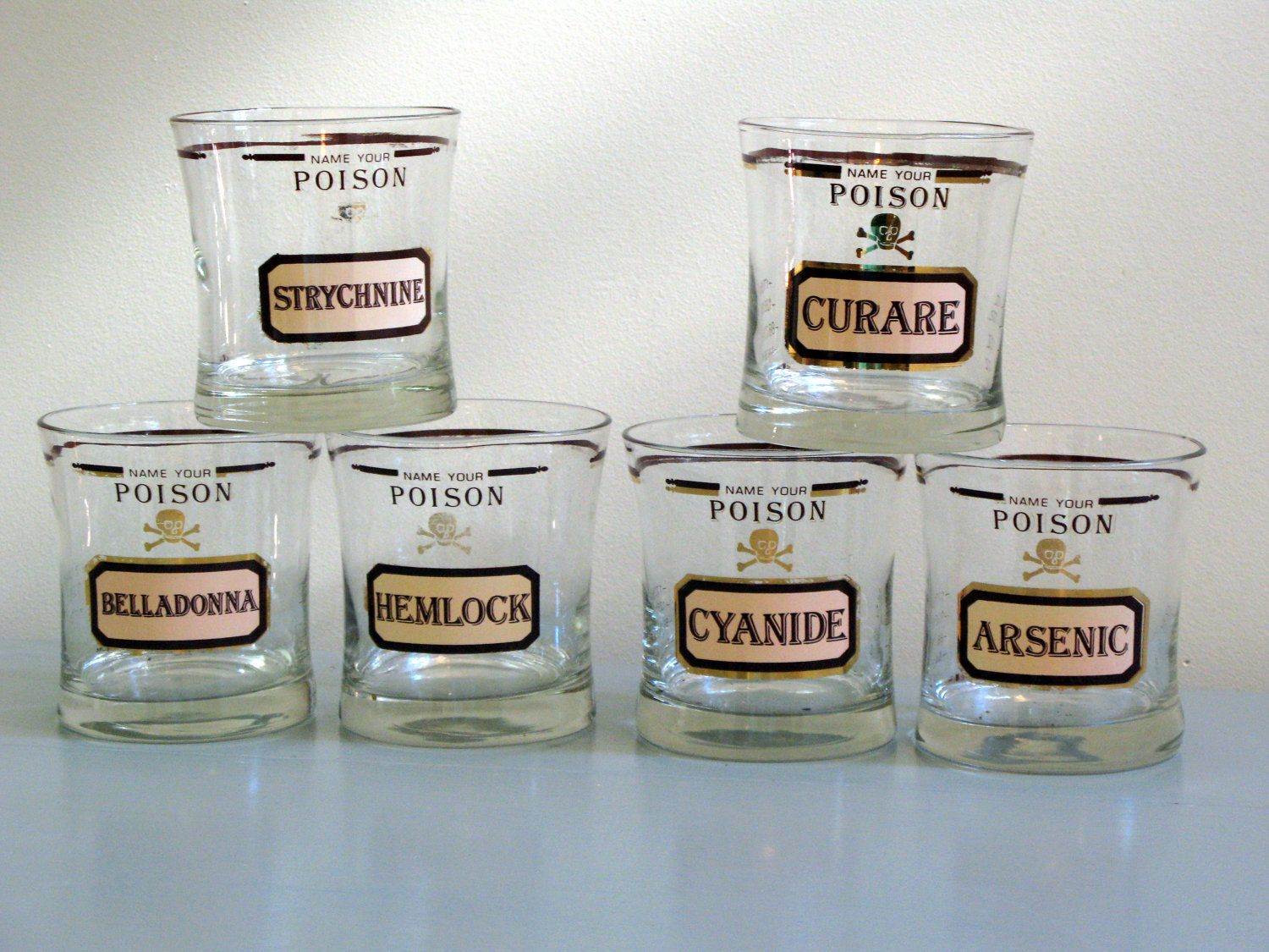 vintage name your poison glasses bar ware mid century  glass  - vintage name your poison glasses i used to have a set they are almostimpossible