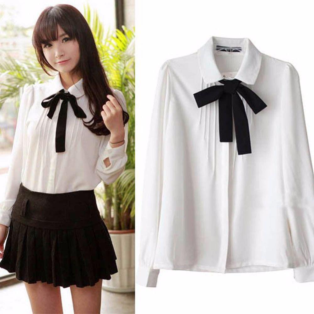 ce4a3ebb0b47 Click to Buy << Sweet Women Girl Bowknot Long Sleeve Blouse White OL  Uniform Blouse Body Shirt Ladies #Affiliate