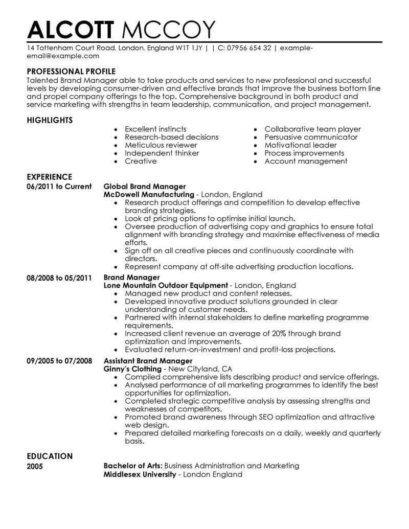 Resume examples marketing good resume examples resume