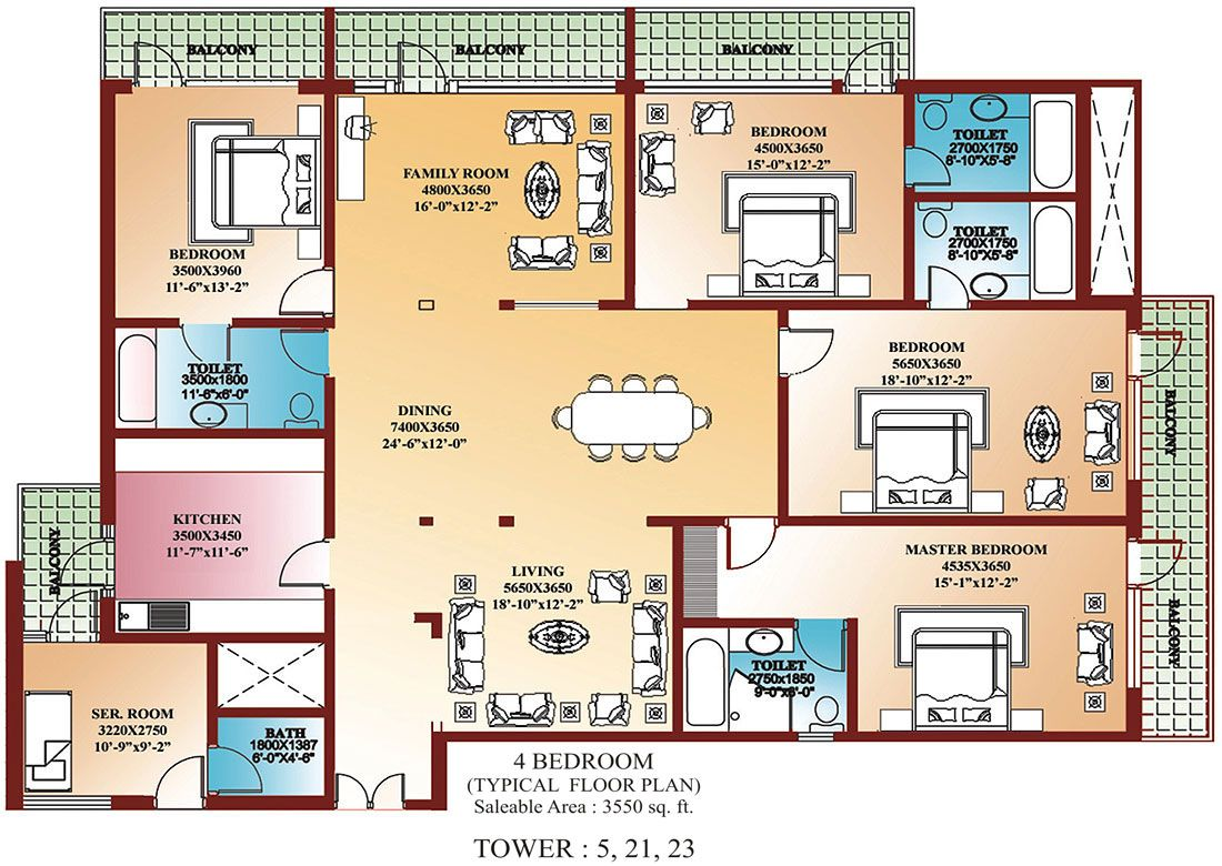4 Bedroom Floor Plans | House plans | Pinterest | Apartment floor ...