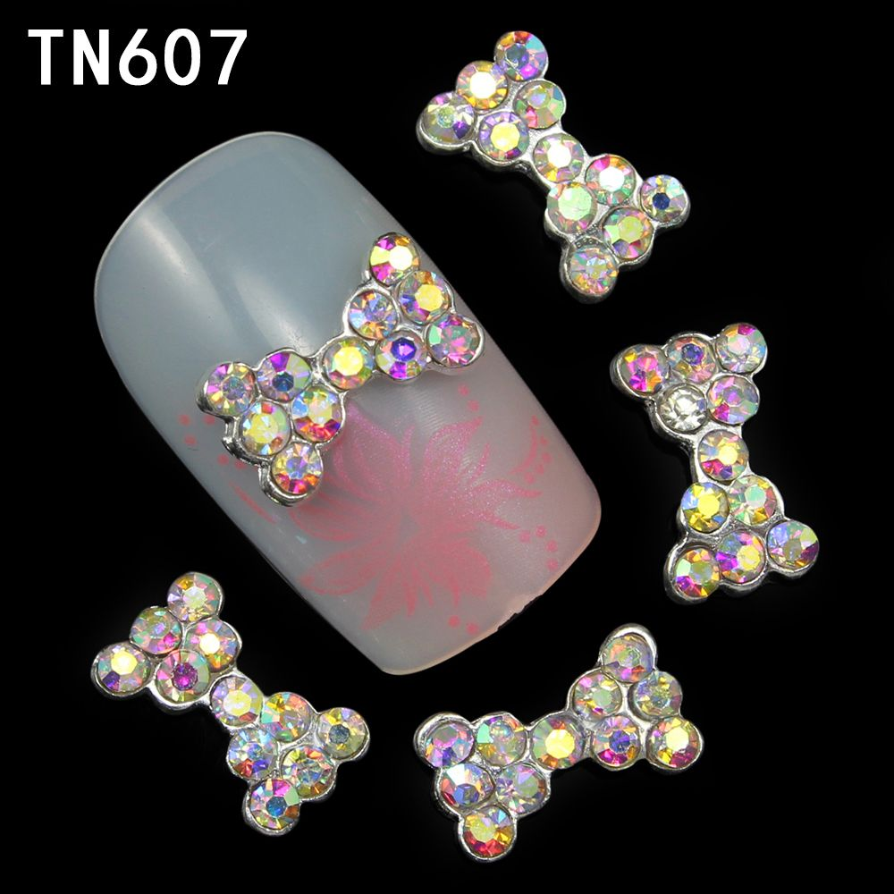 10pcs Alloy Glitter 3d Nail Bows Art Decorations with Rhinestones ,Alloy Nail Charms,Jewelry on Nails Salon Supplies TN607