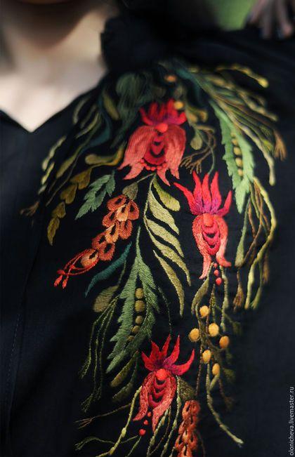 """Блузки ручной работы. Заказать Эксклюзивная вышитая блуза """"Лунные травы"""". KVITKA (Ирина Олоничева). Ярмарка Мастеров. Вышитая блуза"""