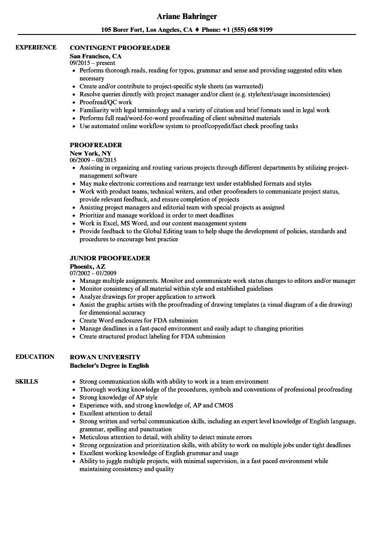 Proofreader Resume Samples Proofreader Resume Writing Tips