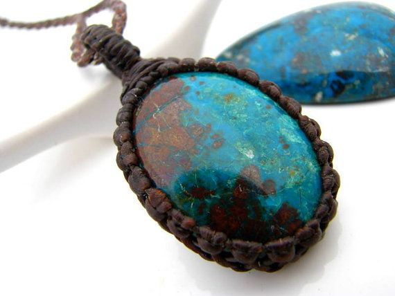 Chrysocolla pendant chrysocolla necklace azurite malachite earth chrysocolla pendant chrysocolla necklace azurite malachite earth gemstone pendant macrame mozeypictures Images
