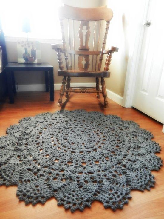 Giant Crochet Doily Rug in Charcoal Gray Lace via EvaVillain ...