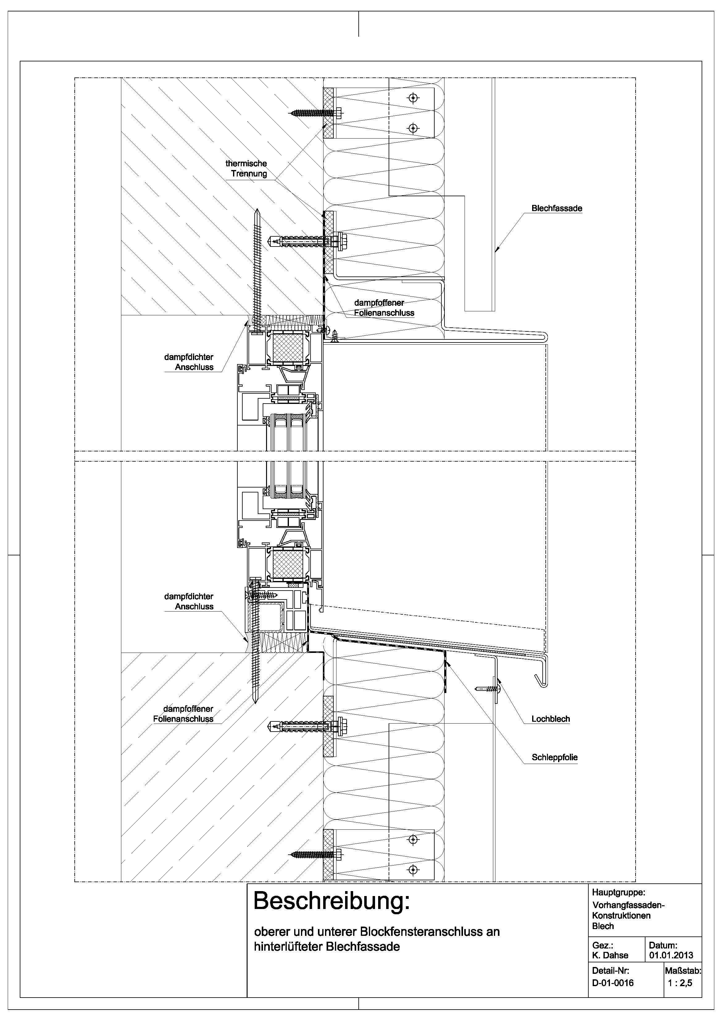 d 01 0016 oberer und unterer blockfensteranschluss an hinterl fteter blechfassade detail. Black Bedroom Furniture Sets. Home Design Ideas