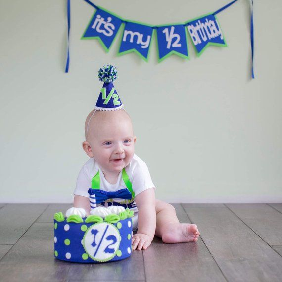 Its My 1 2 Birthday Blue And Green Banner Half Boy Decorations Photo Prop