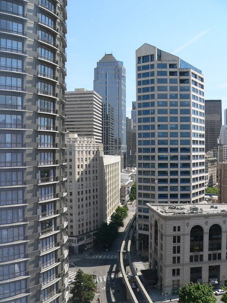 looking south from the westin hotel in downtown seattle. Black Bedroom Furniture Sets. Home Design Ideas