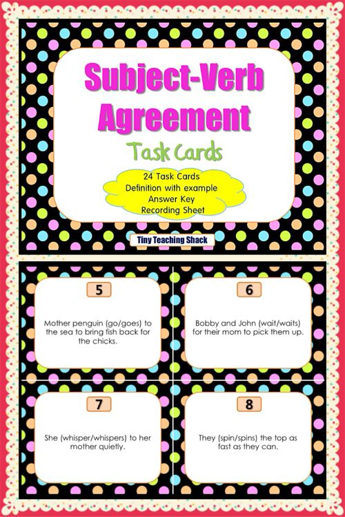 Subject verb agreement activities subject verb agreement language subject verb agreement task cards for first and second graders good for ell and platinumwayz