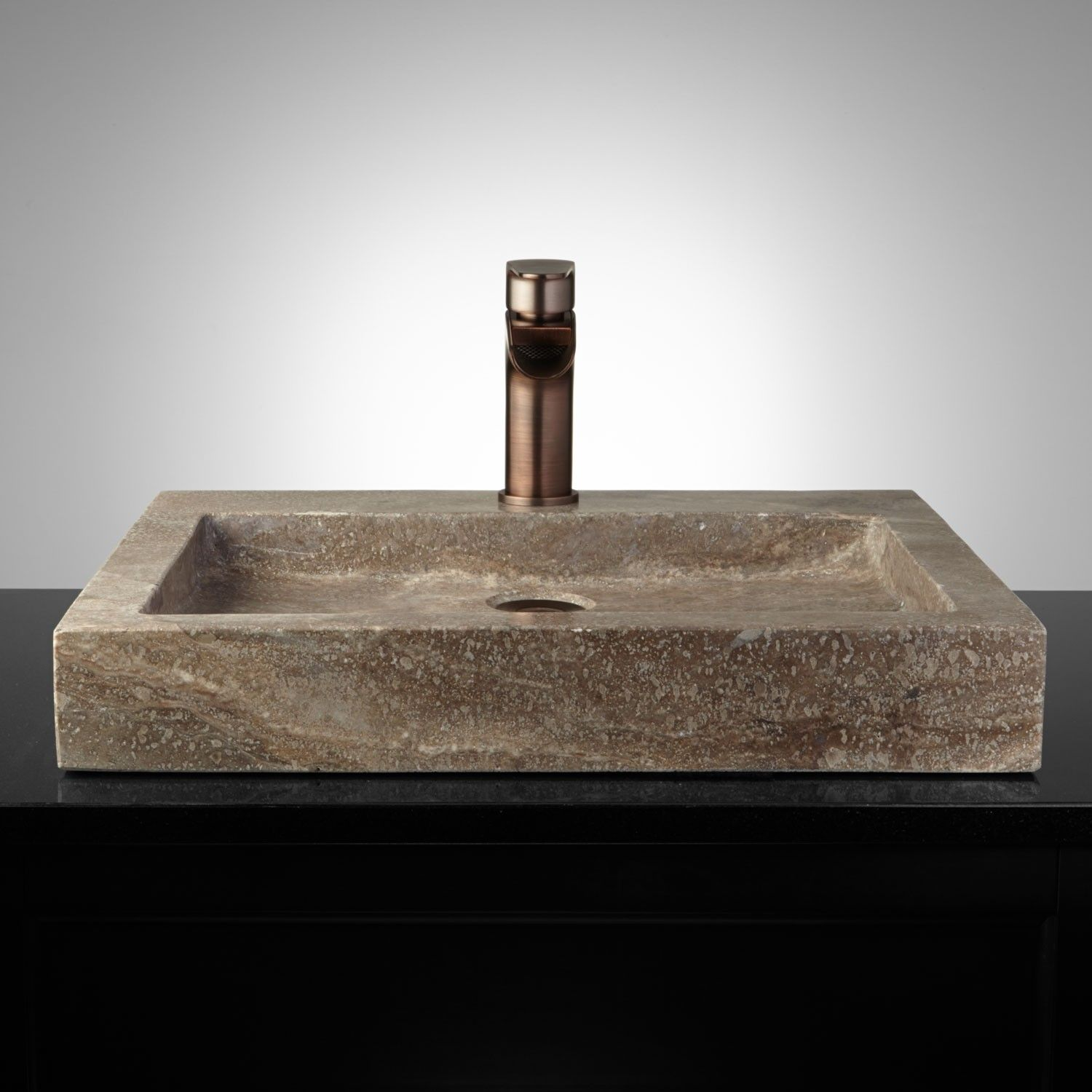 Square Polished Travertine Vessel Sink Sink Vessel Sink Vessel