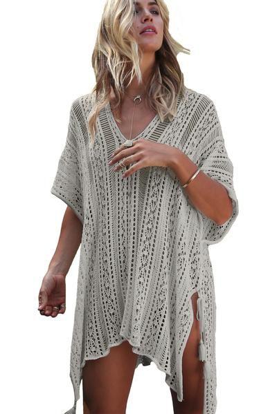 6d096a31d5c Her Summer Grey Crochet Knitted Tassel Tie Swimsuit Cover-up Beachwear   swimming  beachwear
