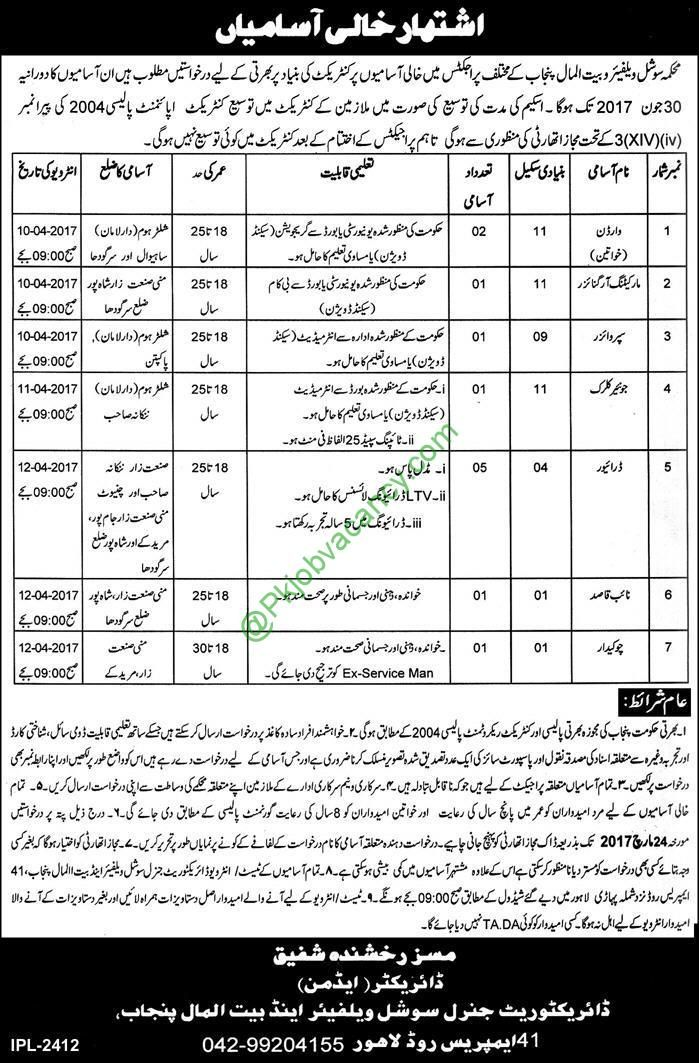 Social Welfare Baitul Mal Department Jobs Jang Newspaper  March