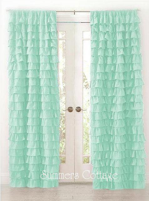 Shabby Beach Cottage Chic Aqua Dreamy Ruffled Curtain Drape Panels |  Landhausstil, Gardinen Und Garderoben